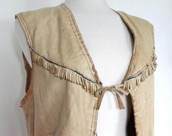 Vintage Early 1930s/1940's Rare Soft Kid Leather Vest WIth Fringe Details