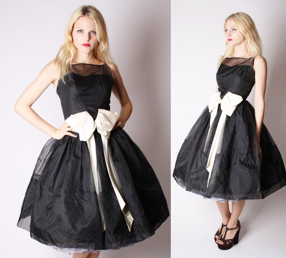 Vintage 50s Black And White Wedding Dress / 50s Prom Dress