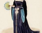 1827 Antique FASHION print, fine engraving by Lanté, woman wearing blue dress, 186 years old gorgeous print.