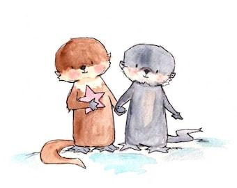 Otter Pup Pals -- Nursery Art Print, New Baby, Girl, Boy