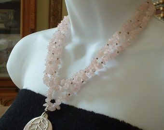 Vintage PINK Mother of Pearl Sea Shell Necklace Three Strand Rose Quartz Sterling Silver Leaf Overlay Penday