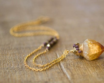 Citrine Necklace, Raw Citrine, Jewelry, November Birthstone, Gift for Her