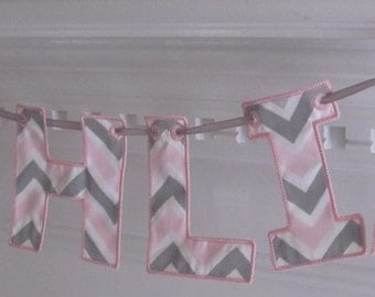 Fabric Name Banner in Pink and Gray Chevron Fabric for Baby Girl Shower and/or Gift  Girl's Nursery/ Room Decoration