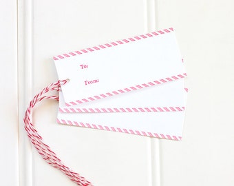 Holiday Letterpress Gift Tags, Christmas Letterpress Present Tags, Gift Wrapping Tags, Candy Cane Letterpress Gift Tags - Set of 10