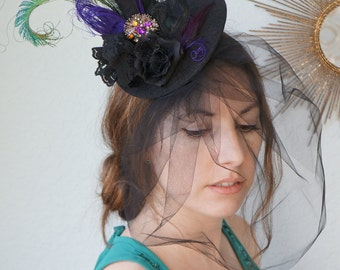 BEDAZZLED Mini Halloween Witch Hat Black Tulle Veil Lace Silk Roses Purple Green Peacock Feathers Large Jewel - Custom Colors Available