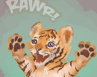 Tiger cub baby illustration print 5 by 7 inches