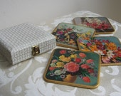 Vintage Win-El-Ware Coasters Box England, Mid Century Flowers Floral Bouquet, Shabby Cottage