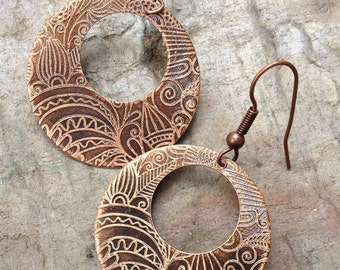 Copper Hoop Earrings / Etched Copper Earrings / Copper Tribal Earrings