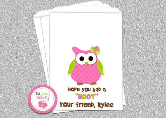 Owl Party Candy Bags, Goody Bags, Party Favor Bag
