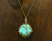 Vintage Inspired Howlite Wrapped in Brass Filigree Necklace