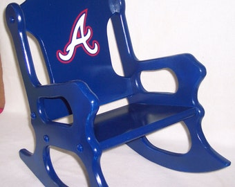 Childrens Rocking Chair- Atlanta Braves- Navy Blue
