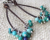 Turquoise & Blue Lapis Beads Brown Leather Long Earrings