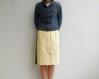 Arizona TShirt Skirt Women's Recycled T-Shirt Skirt Olive Green Yellow Cotton Skirt Summer Skirt ohzie