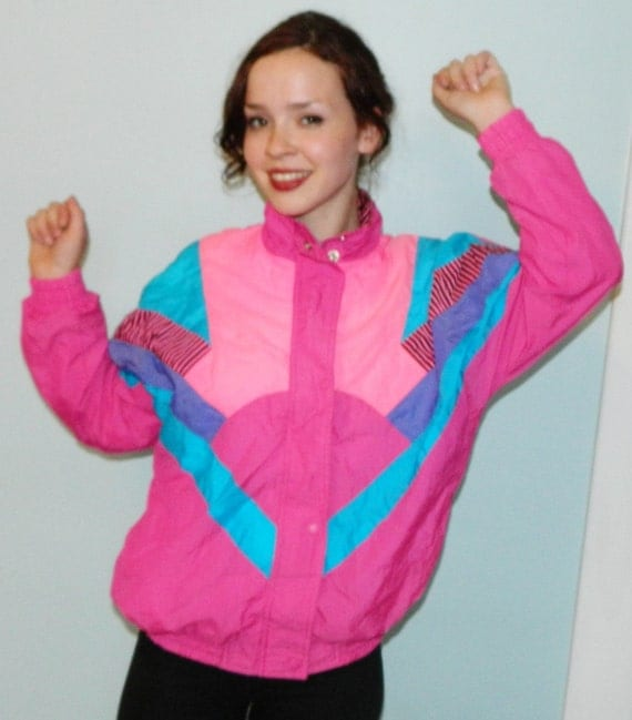 vintage 80s neon ski warm up jacket ugly 80s by ...