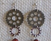 Steampunk Gears Cogs with Deep Red Pearl Earrings