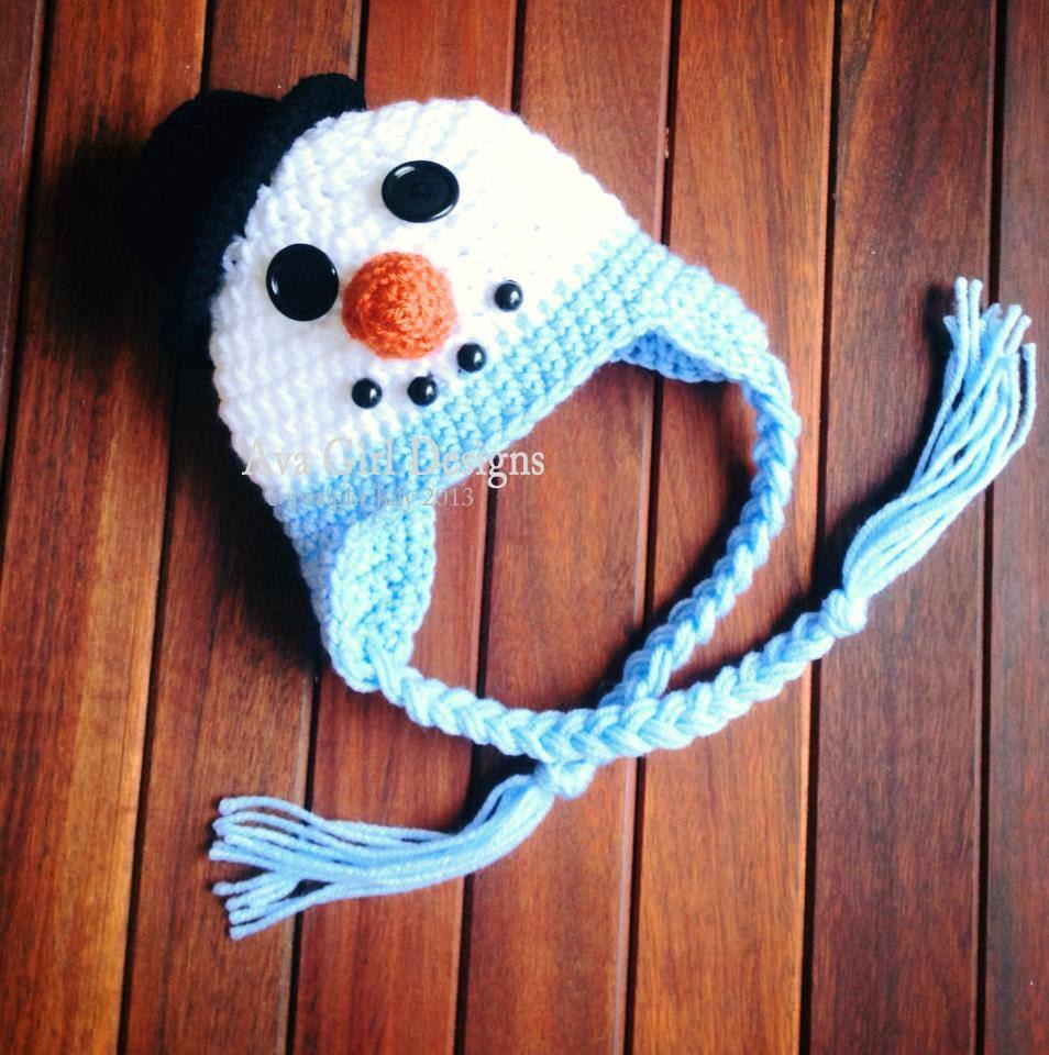 Newborn snowman hat crochet pattern