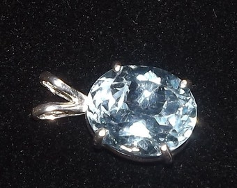 December Dreams - LARGE Blue Topaz and Silver Pendant