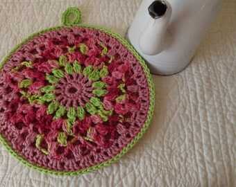 Crocheted Round Potholder Wall Hanging Doily Centerpiece - Cottage Granny Chic