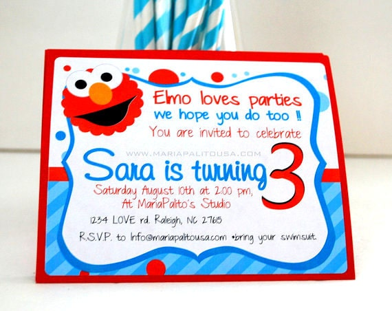 Elmo Birthday Party Ideas to create the perfect Elmo Birthday Party by MariaPalito: Elmo Invitations, Set of 12 Handmade Elmo Inspired Invitations Aqua Blue stripped and polka dot Invitations A786