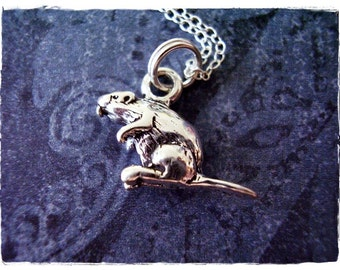 Silver Beaver Necklace - Sterling Silver Beaver Charm on a Delicate Sterling Silver Cable Chain or Charm Only