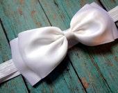 White Bow Headband. White Satin Hair Bow Headband. Baby Hair Accessories. Baby Girls Hair Accessories. Christmas Headband. Baptism Headband