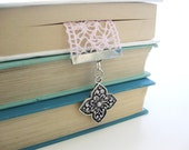 Pink Lace Bookmark - Silver with Opal Rhinestone - Crochet Ribbon Bookmark