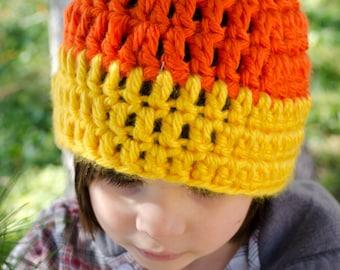 Candy Corn Beanie - Kids Crochet Halloween Hat