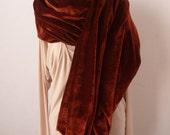 Rust color velvet shawl scarf