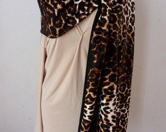 Animal print scarf with black rayon jersey