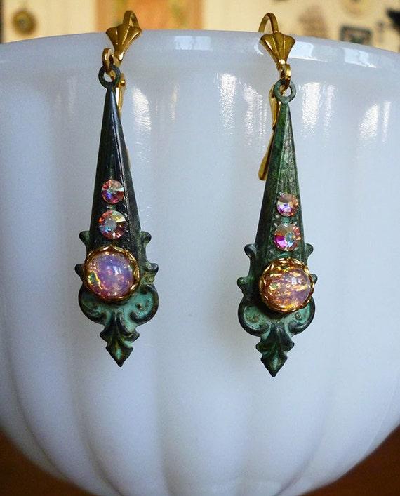 Eboli Small Post Light Aged Copper With Opal Glass: Edwardian Teardrop Shaped Glass Fire Opal Earrings On