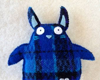Recycled Felt Rabbit Plush Blue Plaid Repurposed Felted Wool