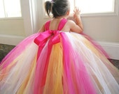 20% OFF SALE Pink Lemonade Flower Girl Tutu Dress featuring pink, yellow, and white tulle