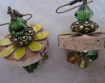 OOAK Cork Earrings with Soda Can Tin, Swarowski Crystals, and Antique Brass Accents
