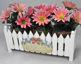 Floral Silk Arrangement Picket Fence Planter Filled with Salmon Silk Daisies in Moss Pots Handmade by OlliesFineThings