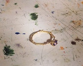 Gold and Tanzanite Twig Ring - Alternative Engagement Ring - Solitaire - Customisable - Stackable