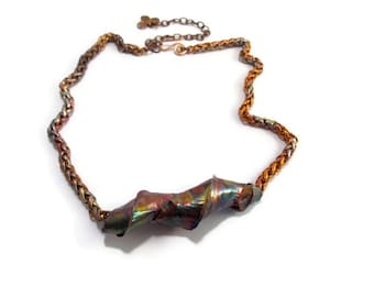 Copper Necklace Fold Formed Jewelry Metalsmith Jewelry Metalwork Pendant