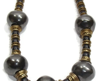 Vintage Slate Gray Beaded Necklace