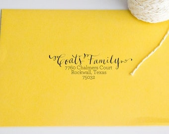 Return Address Wood Handle Rubber Stamp Swirly Writing with Type Calligraphy Style Font Hand Lettered Address