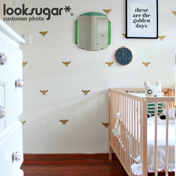 Bee Wall Stickers x 20 for Modern Living Space - Children Wall Stickers for Baby Nursery - Stenciled Effect - 0124