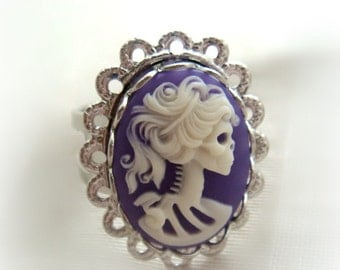 Purple skeleton lady cameo ring, gothic jewelry, pastel goth, gift for her