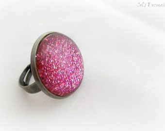 Pink glitter cocktail ring, statement ring, handmade gift