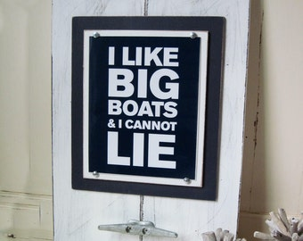 Framed Wall Art Print with Boat Cleat I Like Big Boats and I Cannot Lie