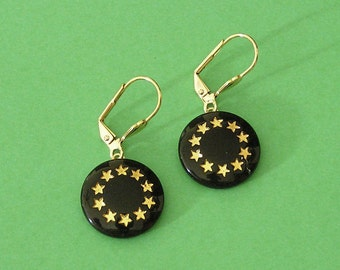 Early 1900s Black Glass Button Earrings with Stars