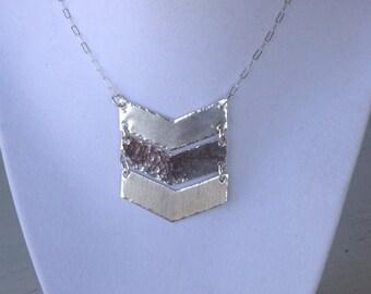 Sterling silver triple texture Chevron necklace