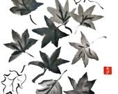 Original Sumi Brush Painting, Leaves, Maple, Fall, Autumn, Home Decor, Wall Art, art, Sumi-e, Gift, black & white, brush and ink, unframed