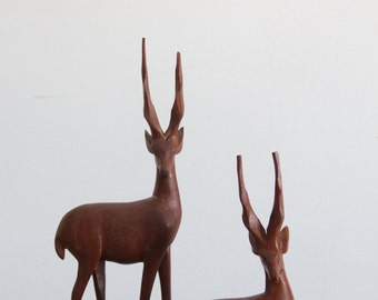 vintage antelope pair, large wooden figure, handcarved home decor