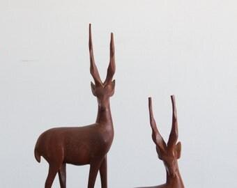 vintage antelope pair, large wooden figure, handcarved home decor