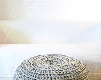 Big Floor Cushion Crochet - Thick Cotton -  light Grey