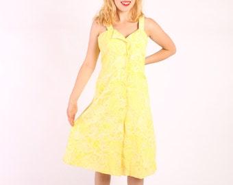 Dress 50s 60s Vintage 1950s 1960s Full Skirt Novelty Print Hawaiian Sea Shells   L Large Yellow Green Citrus.