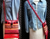 Upcycled Purse from Vintage Embroidered Woven Linen, Vintage Trims, Buttons, Yo-yo's and Tassels, Red and Black
